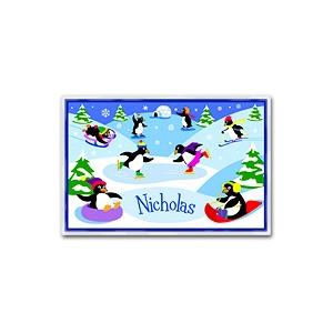 Olive Kids Personalized Laminate Placemat - Penguins