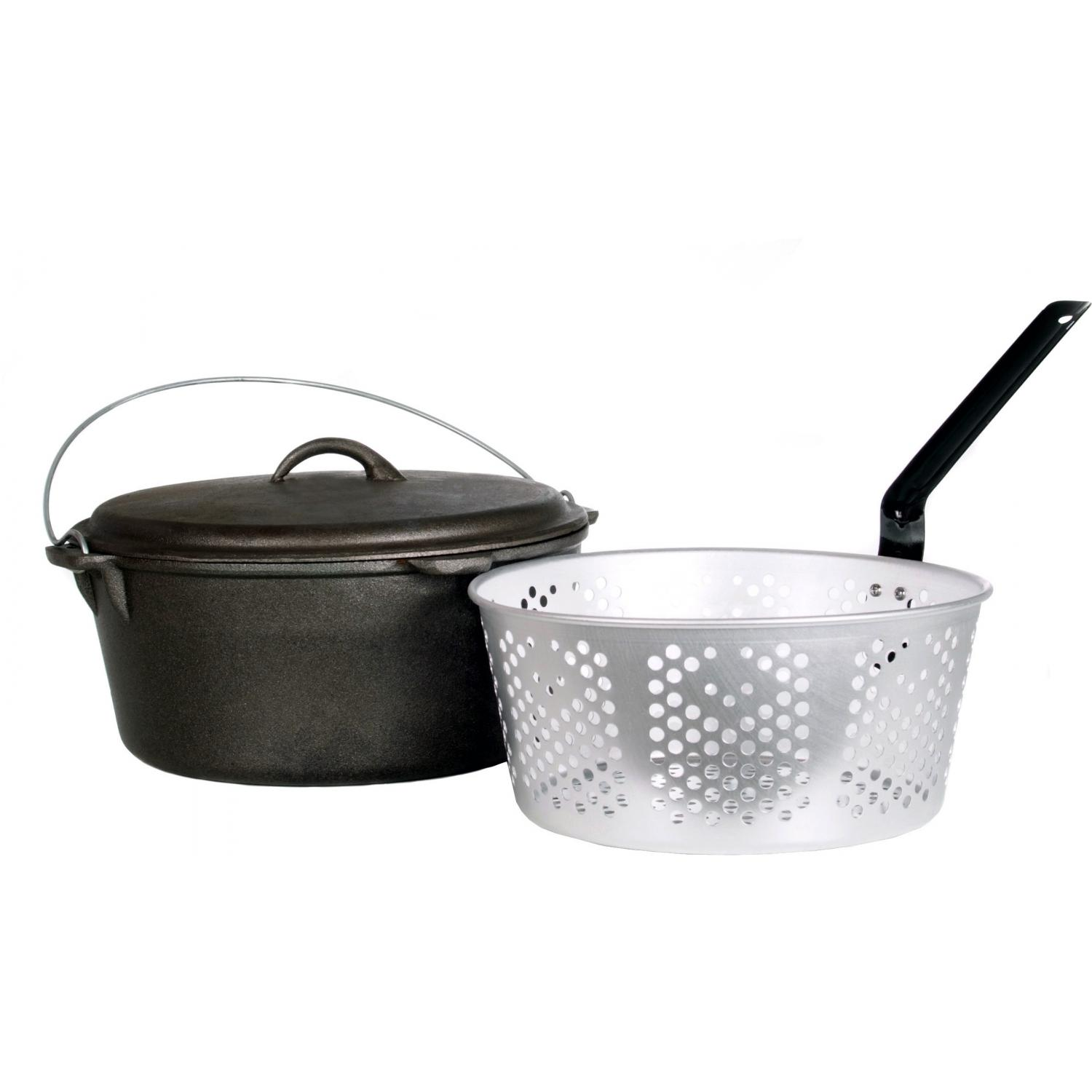 Cajun Cookware Dutch Ovens With Fry Basket 9 Quart Seasoned Cast Iron Dutch Oven