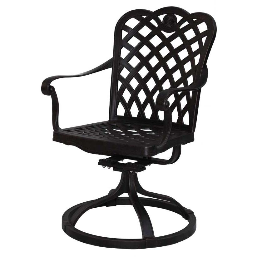 Darlee Del Mar Cast Aluminum Outdoor Patio Swivel Rocker Chair With Spicy Chili Cushion - Antique Bronze