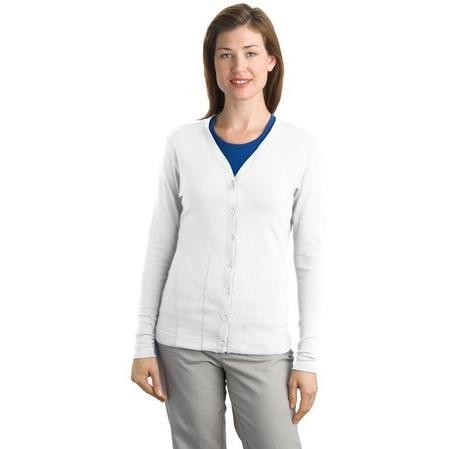Port Authority Ladies Modern Stretch Cotton Cardigan 3XL - White