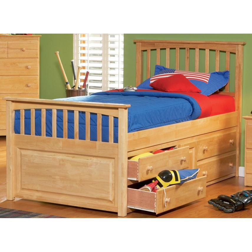Atlantic Furniture 3012530 Twin Size Mates Bed Natural Maple W/ Underbed Storage Chest