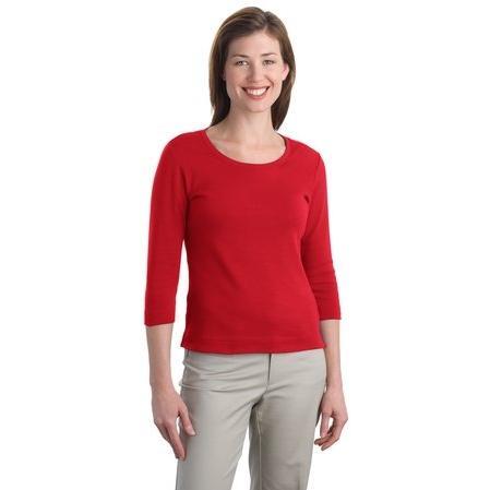 Port Authority Ladies Modern Stretch Cotton 3/4-Sleeve Scoop Neck Shirt Medium - Scarlet Red