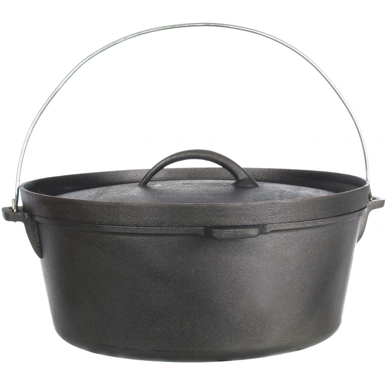 Cajun Cookware Pots Without Legs 21 Quart Seasoned Cast Iron Camp Pot