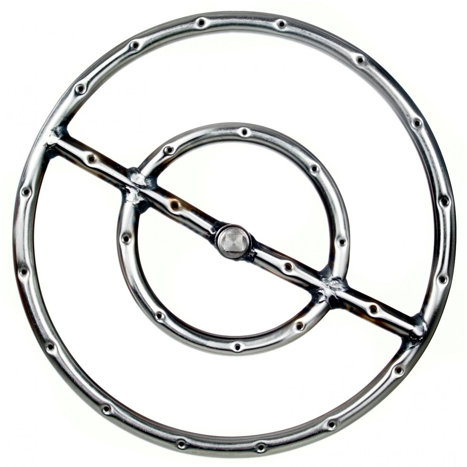 12 Inch Stainless Round Double Natural Gas Fire Pit Ring