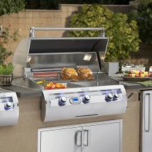 Fire Magic Echelon Diamond E790i 36-Inch Built-In Natural Gas Grill With Magic View Window - E790i-4E1N-W Fire Magic Echelon Diamond E790i Natural Gas Grill With Window - Hood Open