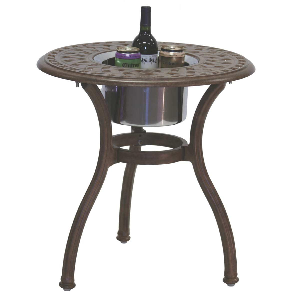 Darlee Series 60 Cast Aluminum Outdoor Patio End Table With Ice Bucket Insert - 24 Inch - Mocha