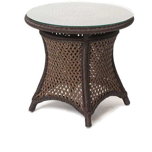 Lloyd Flanders Grand Traverse Woven Vinyl Outdoor Patio End Table With Glass Top - Caramel Finish
