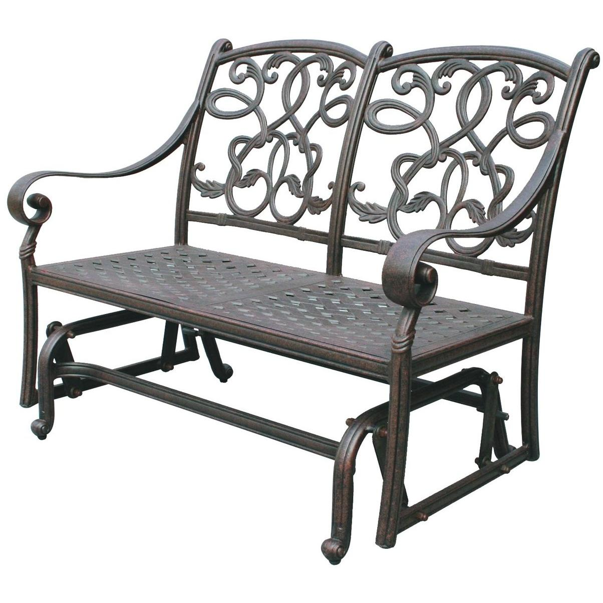 Darlee Santa Monica Cast Aluminum Outdoor Patio Loveseat Glider With Cushions - Antique Bronze