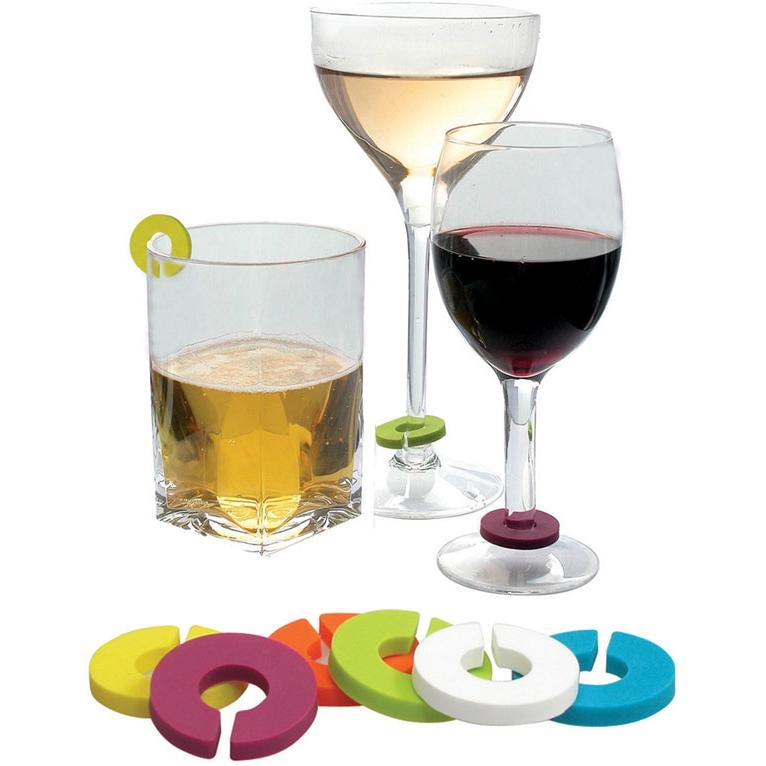 Vinotemp EP-CHARMS1 Epicureanist Multicolor Wine Glass Charms