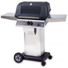 MHP WNK4DD Freestanding Propane Gas Grill With Stainless Steel Shelves And SearMagic Grids On Stainless Cart