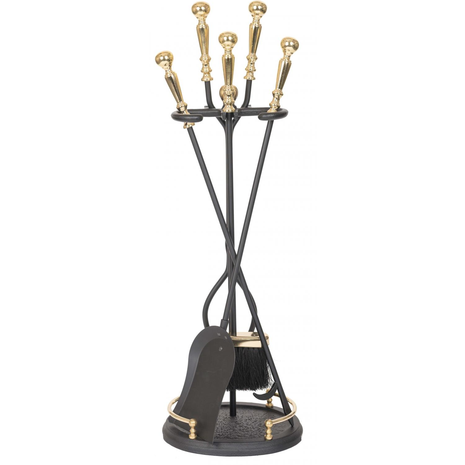 Picture of Alpine Flame 5-Piece Brass/Black Fireplace Tool Set