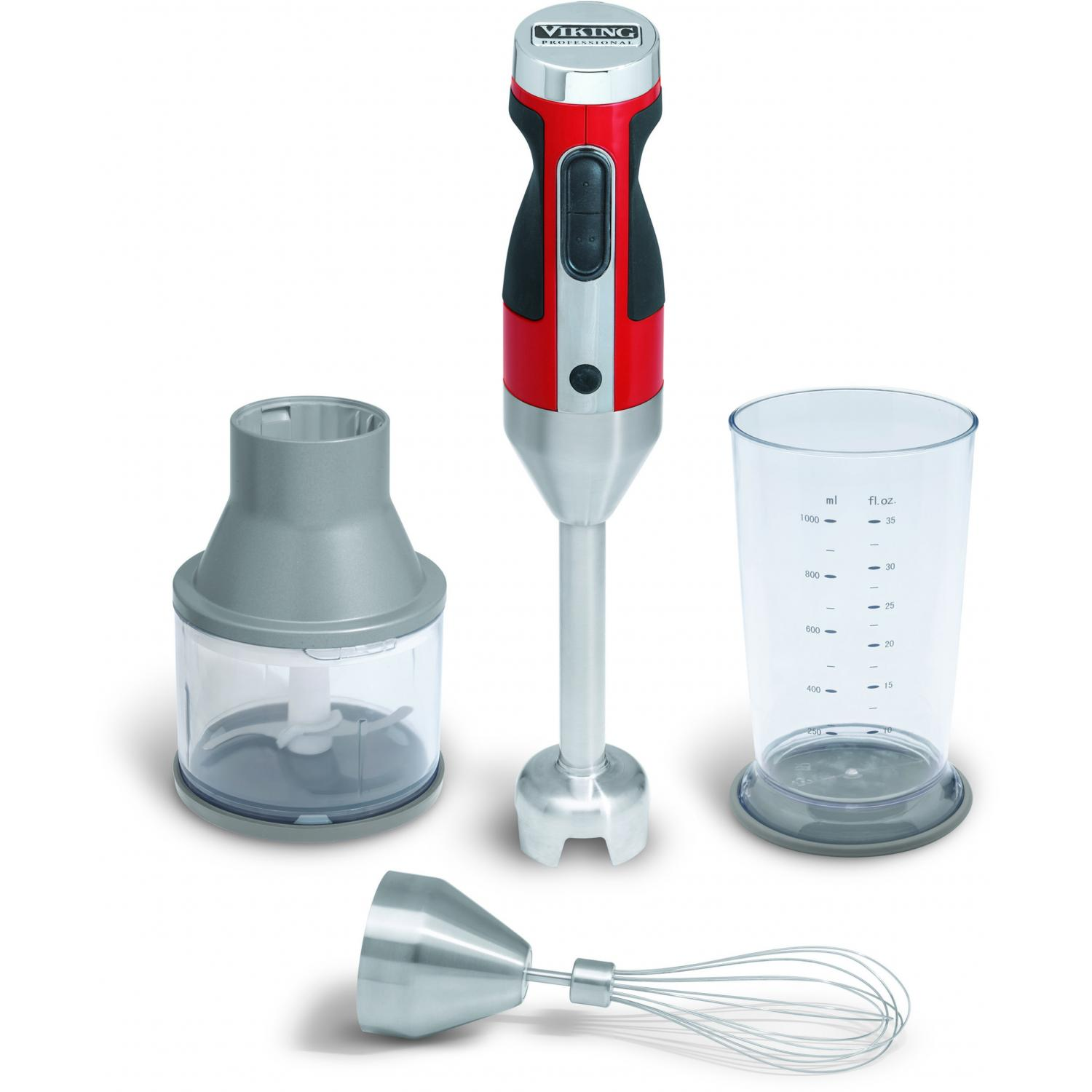 Viking VHB300BRPS Premium Hand Blender Set With Chopper Attachment - Bright Red