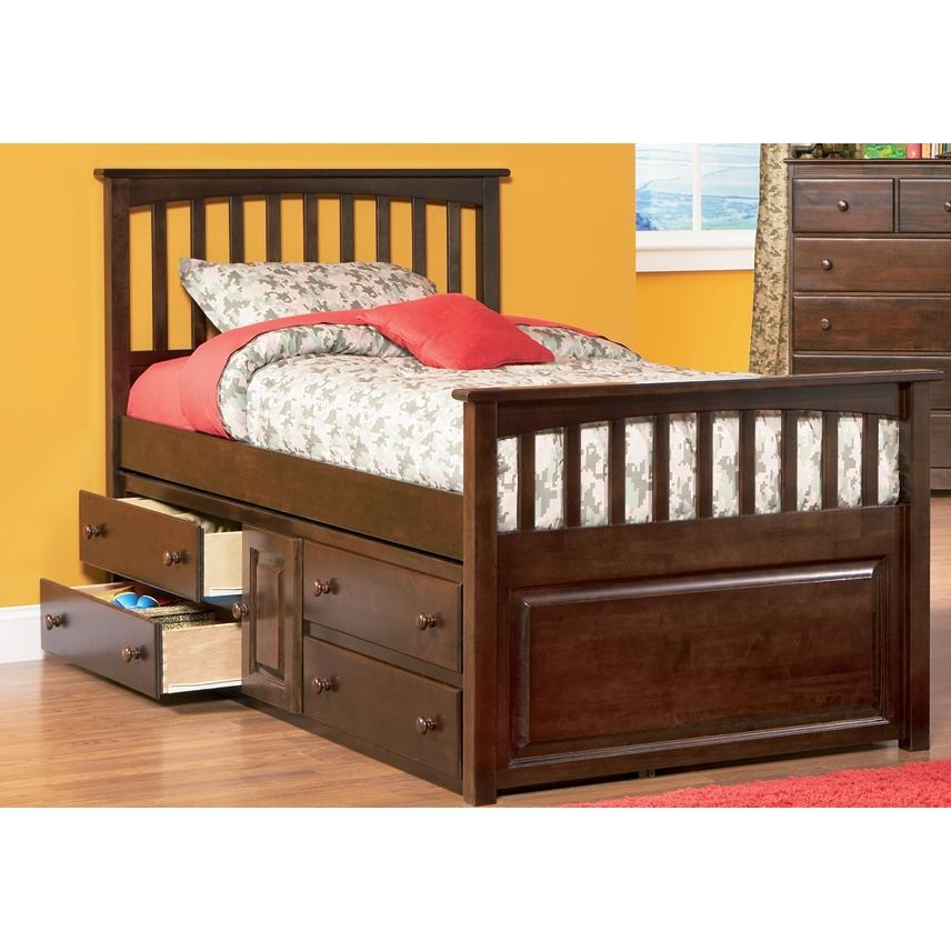 Atlantic Furniture 3012430 Twin Size Mates Bed Antique Walnut W/ Underbed Storage Chest