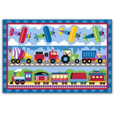 Olive Kids Floor Rug - Trains Planes And Trucks Rectangle