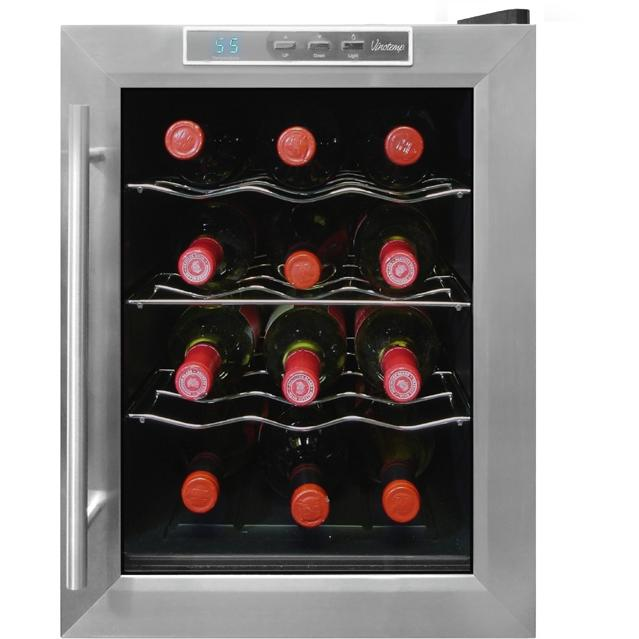 VinoTemp VT-12TEDS 12 Bottle Thermoelectric Wine Cooler - Glass Door / Black Cabinet