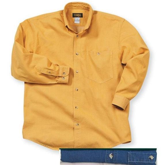 Cobra Caps Long Sleeve Premium Heavyweight Washed Denim Shirt XL - Indigo