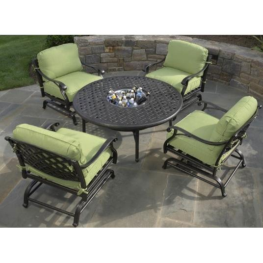 Alfresco Home Long Cove 52 Inch Round Firepit Chat Set - Antique Fern