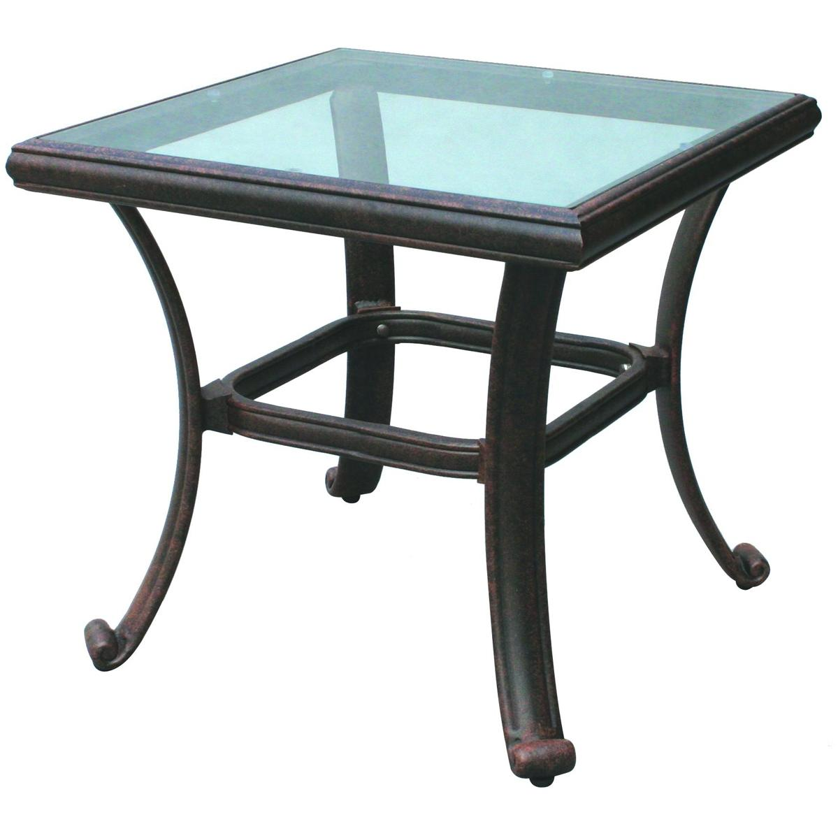 Darlee Series 50 Glass Top Square Aluminum Outdoor Patio End Table - 24 Inch Square - Antique Bronze