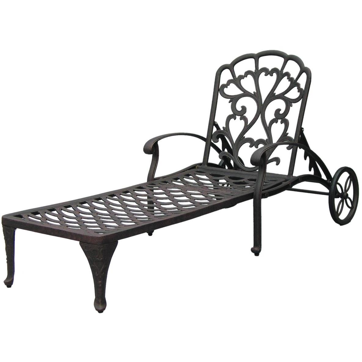 Darlee Catalina Cast Aluminum Outdoor Patio Chaise Lounge With Cushions - Antique Bronze
