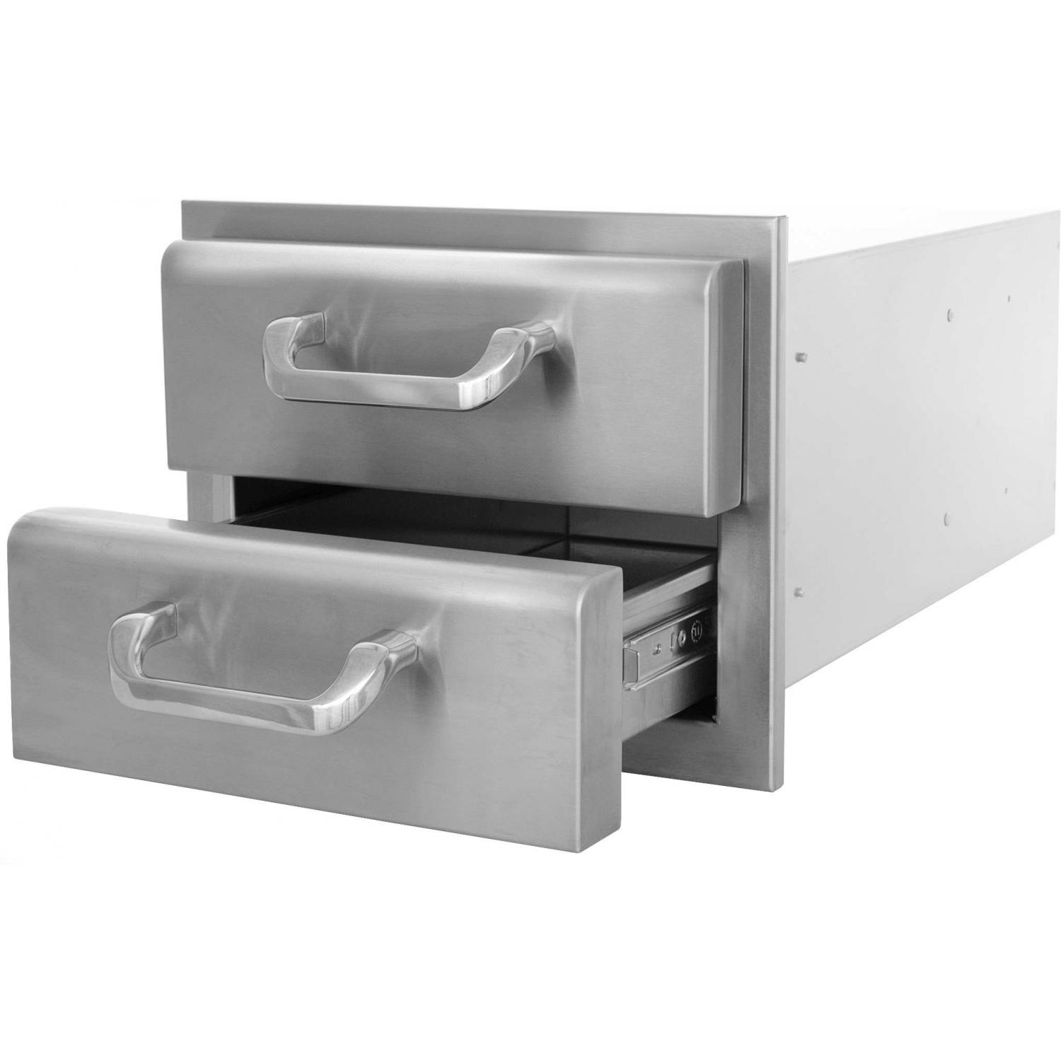 Picture of BBQGuys.com Kingston Raised Series 14 Inch Stainless Steel Double Access Drawer