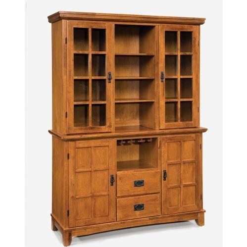 Home Styles Arts And Crafts Dining Buffet With Hutch - Cottage Oak - 5180-697