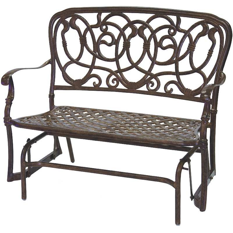 Darlee Florence Cast Aluminum Outdoor Patio Bench Glider - Mocha