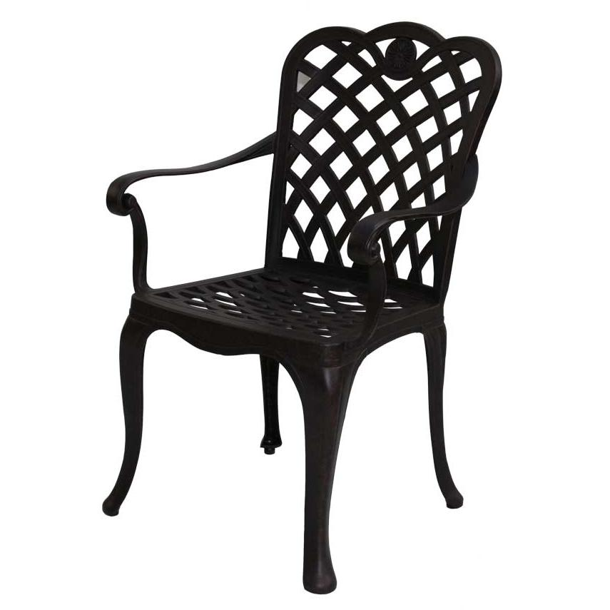 Darlee Del Mar Cast Aluminum Outdoor Patio Dining Chair With Spicy Chili Cushion - Antique Bronze