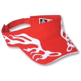 Otto Cap Flame Pattern Brushed Cotton Twill Sandwich Bill Sun Visor - Red/White