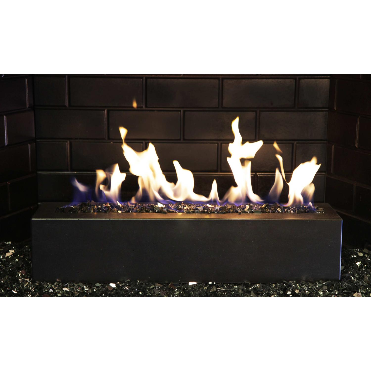 Picture of Golden Blount 24-Inch Alpine Linear Burner With Decorative Black Front Face And Black Reflective Fire Glass