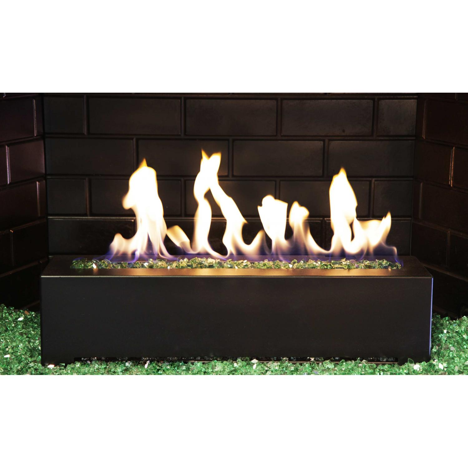 Picture of Golden Blount 24-Inch Alpine Linear Burner With Decorative Black Front Face And Emerald Reflective Fire Glass