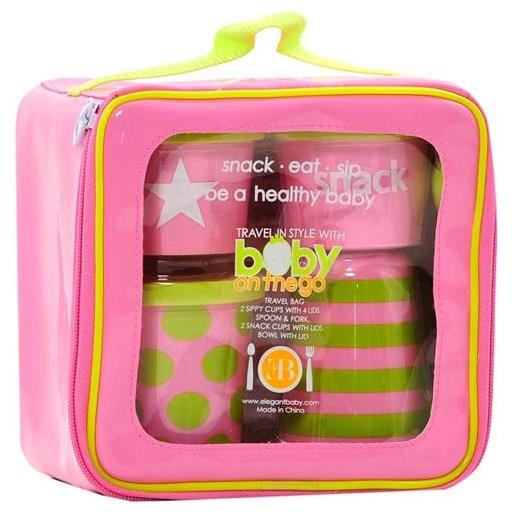 Elegant Baby On The Go Feeding Set - Pink/Green