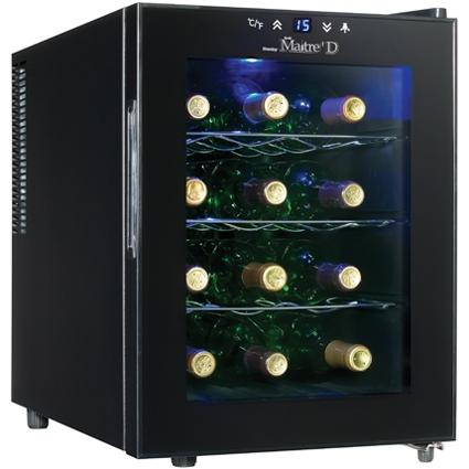 Danby DWC1233BL-SC 12 Bottle Thermoelectric Freestanding Wine Cooler - Glass Door / Black Trim