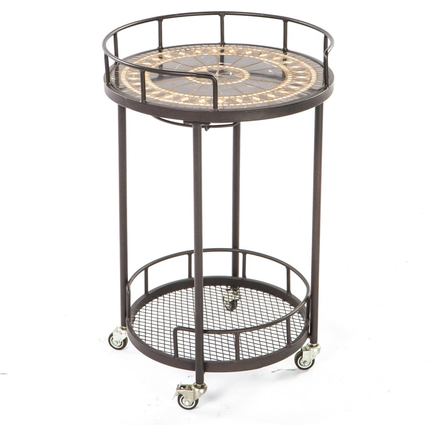 Picture of Alfresco Home Gibraltar Mosaic Outdoor Serving Cart