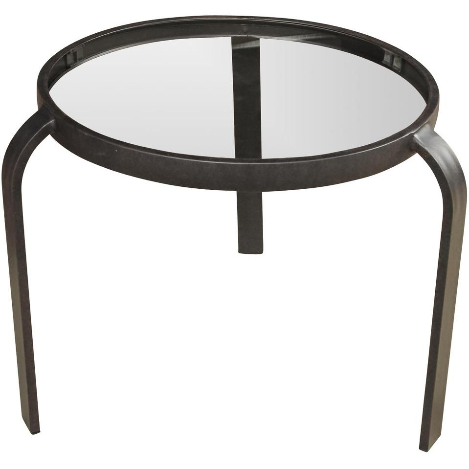 Picture of 20-Inch Round Patio End Table With Glass Top By Lakeview Outdoor Designs