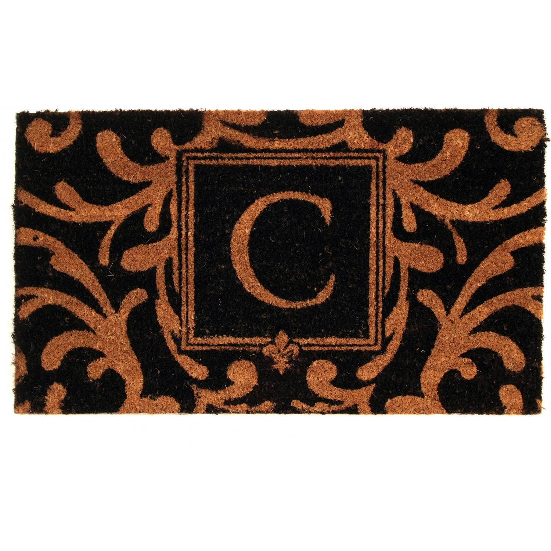 Evergreen Classic Block Monogram Coir Door Mat - Letter C