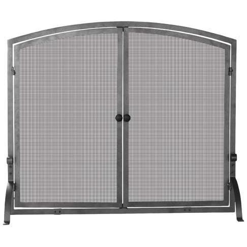 UniFlame 39 Inch Olde World Iron Single Panel Fireplace Screen With Doors