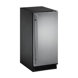 U-Line CLR2160S-01 30 Lb. Capacity Outdoor Left Hinge Ice Machine - Stainless Steel Door / Black Cabinet
