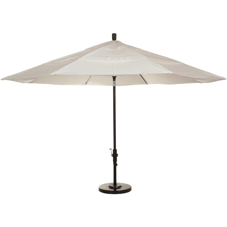 California Umbrella 11-Ft Natural Market Umbrella With Fiberglass Ribs And Double Vents On Bronze Pole