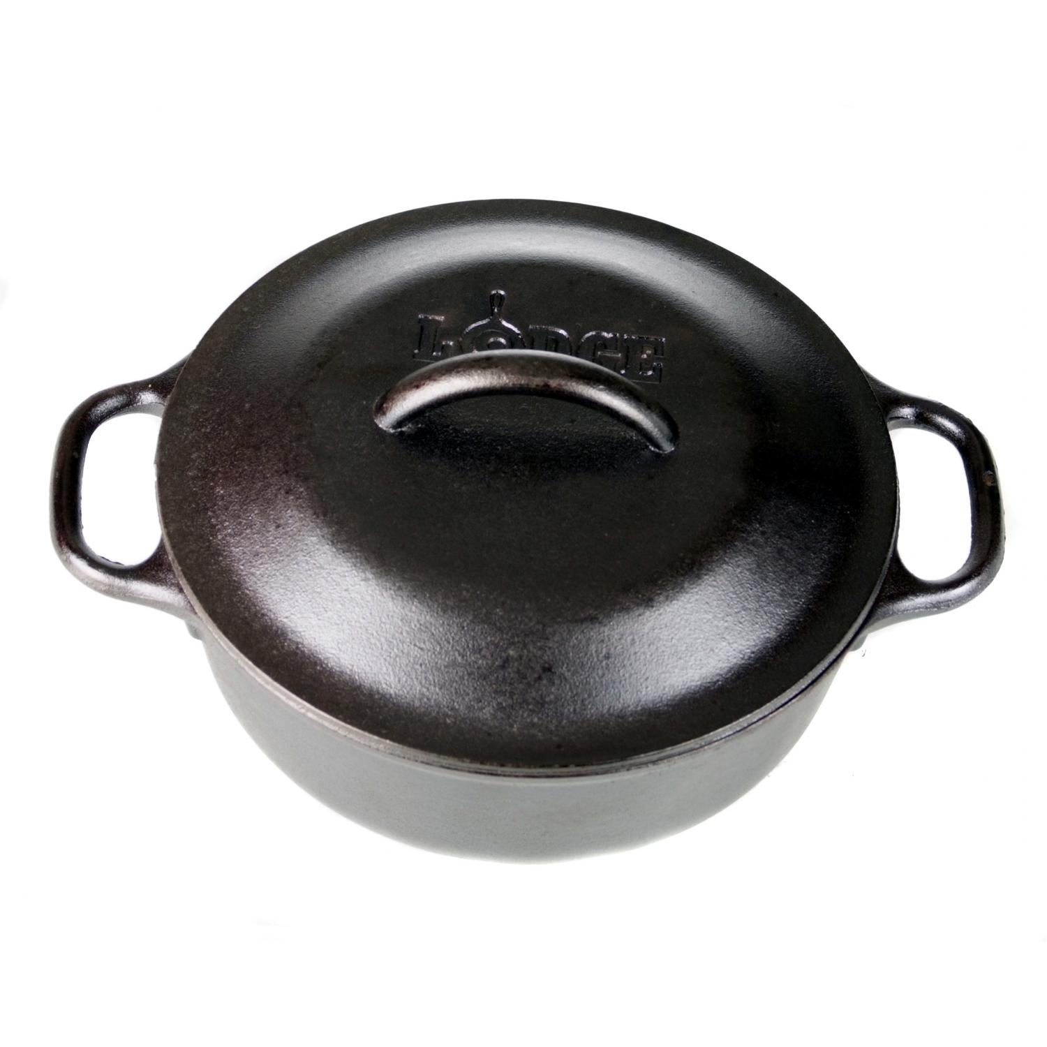 Lodge Cast Iron Serving Pot With Iron Cover Cookware Seasoned - L2SP3