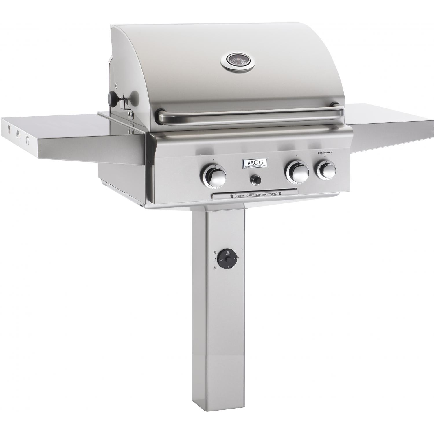 American Outdoor Grill 24 Inch Natural Gas Grill W/ Rotisserie On In-Ground Post