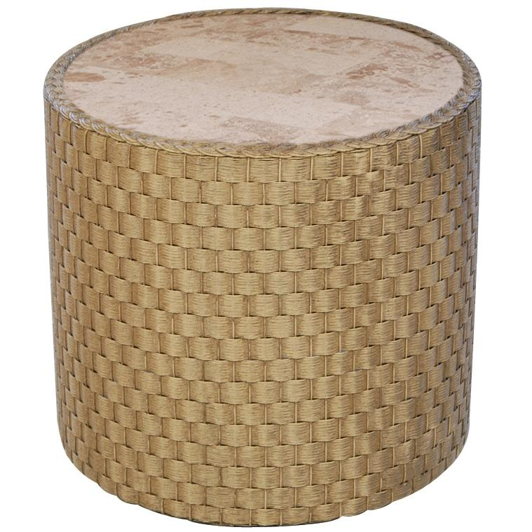 Lloyd Flanders Rio Lloyd Loom Wicker Outdoor Patio Stone Top End Table - Bamboo Finish