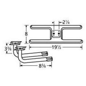 Stainless Steel H Twin, Centered, 2.25 Inch Offset Burner 11002-74602