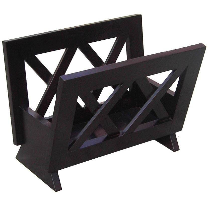 Oceanstar Magazine Rack In Contemporary Mahogany And Solid Wood - M1125