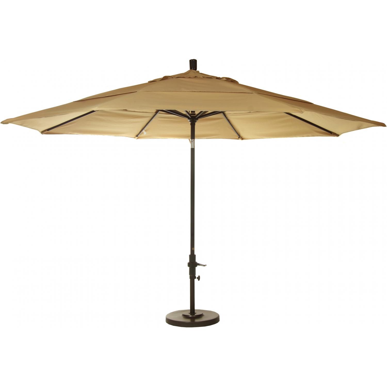 California Umbrella 11-Ft Wheat Market Umbrella With Double Vents On Bronze Pole