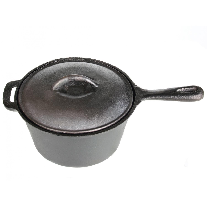 Cajun Cookware Pots 3-Quart Seasoned Cast Iron Sauce Pot - GL10491BS