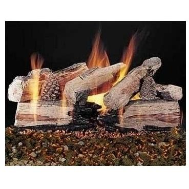 Rasmussen 24 Inch Evening CrossFire Gas Log Set With Vented Natural Gas Custom Pan Burner - Remote Ready Safety Pilot