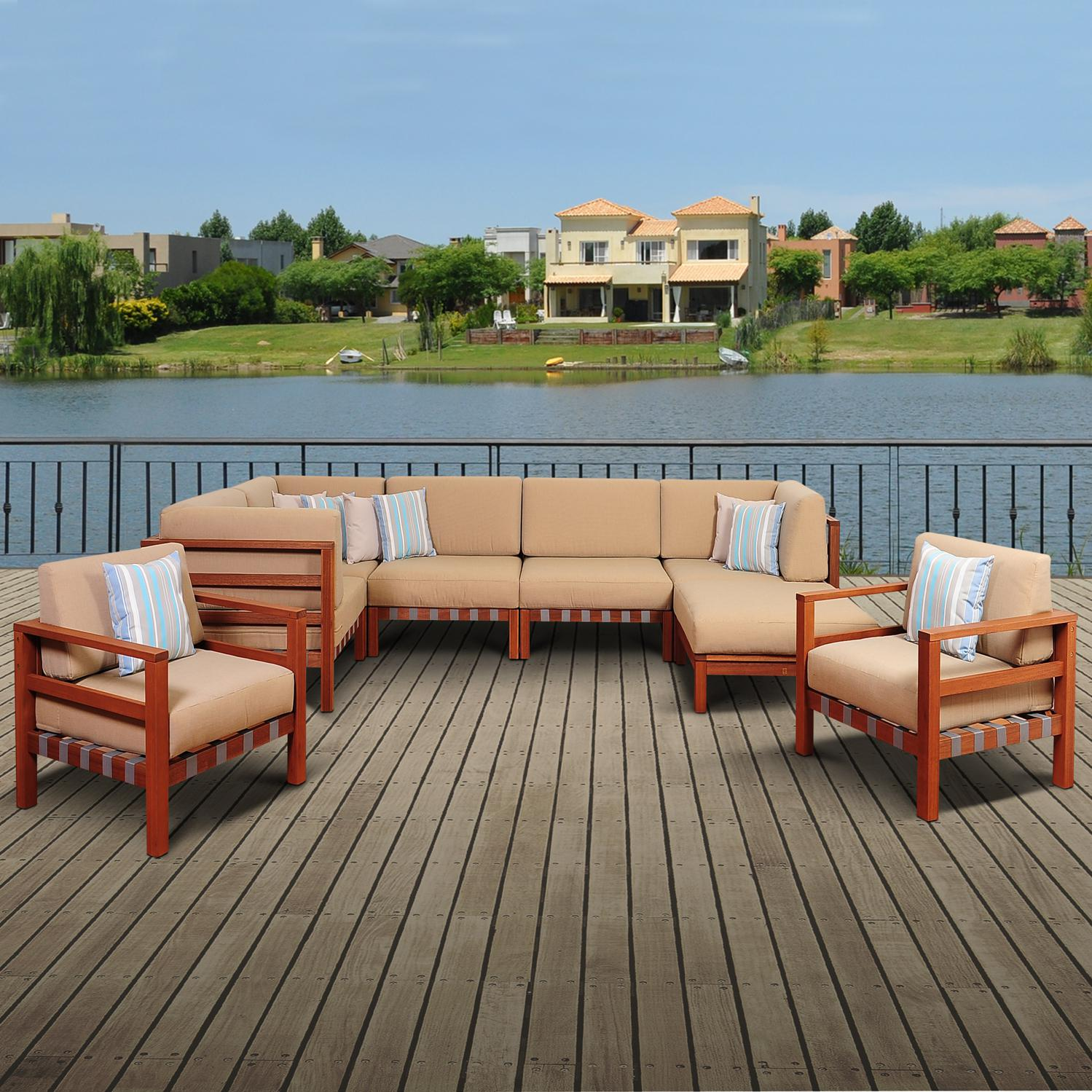 Picture of Amazonia Derbyshire 6-Person Eucalyptus Patio Sectional Set With Two Club Chairs By Jamie Durie
