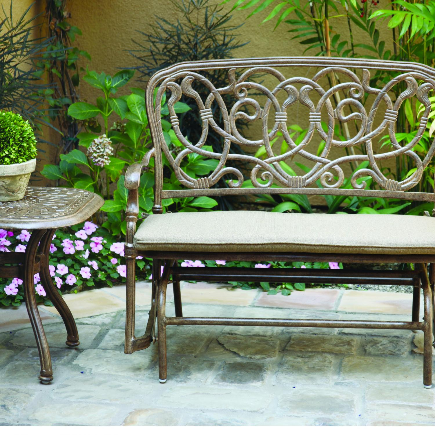 Terrific Darlee Florence 2 Person Cast Aluminum Patio Bench Glider Andrewgaddart Wooden Chair Designs For Living Room Andrewgaddartcom
