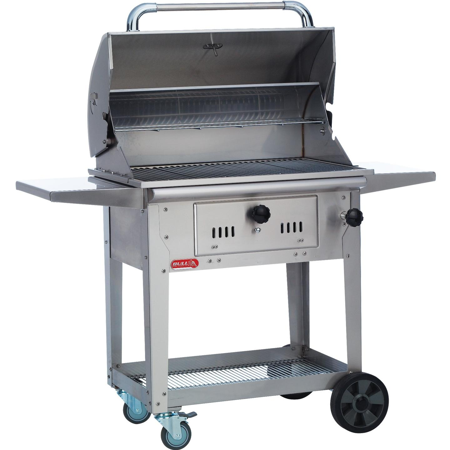 Bull Bison 30-Inch Stainless Steel Charcoal Grill On Cart