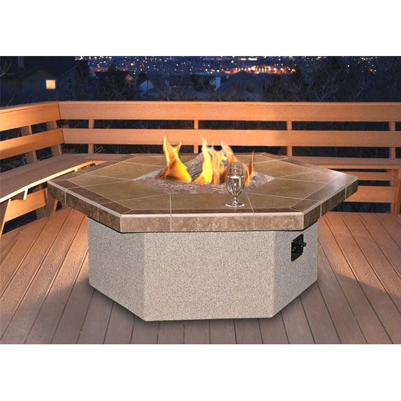 Cal Flame 48 X 20 Inch Outdoor Natural Gas Hexagon Firepit
